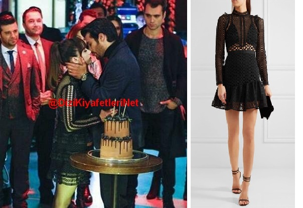 Dolunay 20 Bolum Nazli siyah tasarim elbise