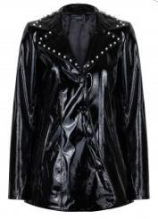 Bahar Şahin siyah rugan ceket
