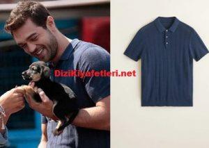 Furkan Andıç mavi çizgili polo tişört