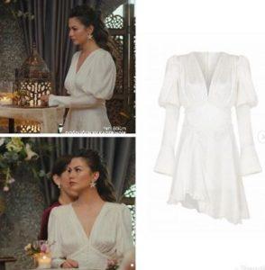 Demet ozdemir dizide giydiği beyaz elbisesi