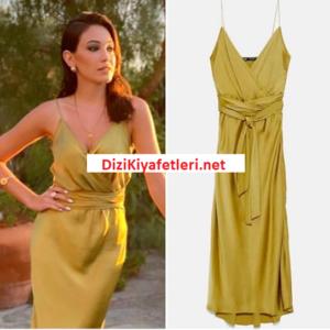 Bay Yanlis Cemre Deniz sarı elbisesi