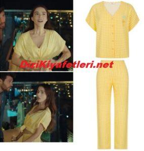 Bay Yanlış Ezgi sarı pijama