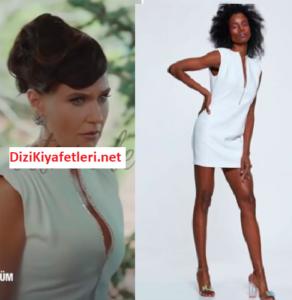 Yasak Elma Ender beyaz taslı yaka elbisesi