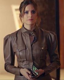 Sen Çal Kapımı Selin kahverengi elbise