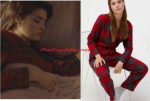 Hande Erçel kırmızı kareli pijama takımı