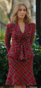 Mucize Doktor Vuslat kırmızı ekose takım elbise